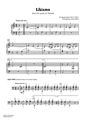 Libiamo - from the opera La Traviata (Late Elementary Piano)