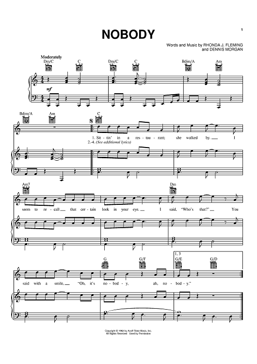 Buy Nobody Sheet Music By Sylvia For Piano Vocal Chords Sittin' in a restaurant and she walked by i seem to recall that certain look in your eye i said who's that you said with a smile oh it's. nobody