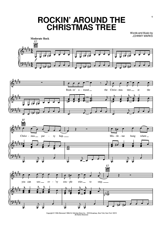 """Buy """"Rockin' Around The Christmas Tree"""" Sheet Music by LeAnn Rimes; MercyMe for Piano/Vocal/C..."""