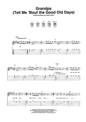 """grandpa (tell me 'bout the good old days)"""" sheet music by the  judds for easy guitar tab/vocal/chords - sheet music now  sheet music now"""