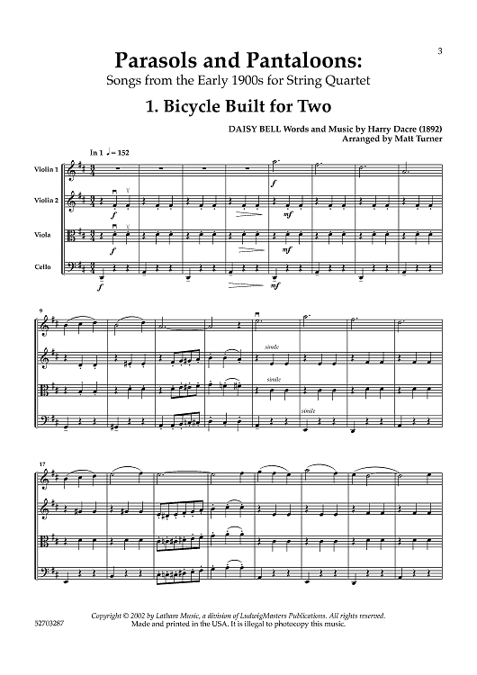 Parasols and Pantaloons - Songs from the Early 1900s for String Quartet -  Score
