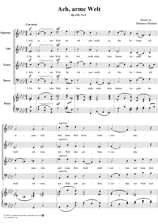"Ach, arme Welt - From ""Three Motets"" Op. 110, No. 2"