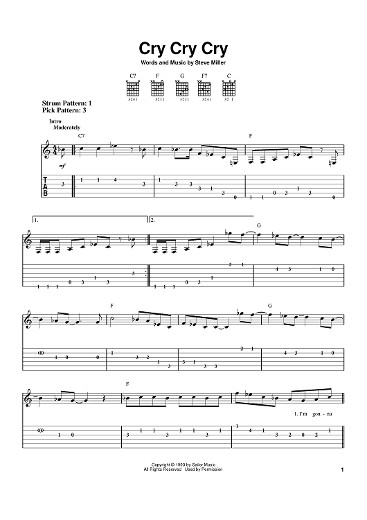 Buy Cry Cry Cry Sheet Music By Steve Miller Band For Easy Guitar Tab