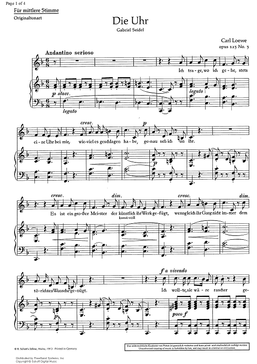 Die Uhr (The watch) Op. 123 No. 3