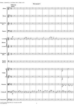 Serenade No. 1 in D Major, Movement 5 (Full Score) - Full Score