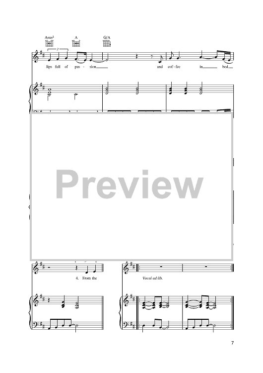 """Buy """"Black Coffee In Bed"""" Sheet Music by Squeeze for Piano/Vocal/Chords"""