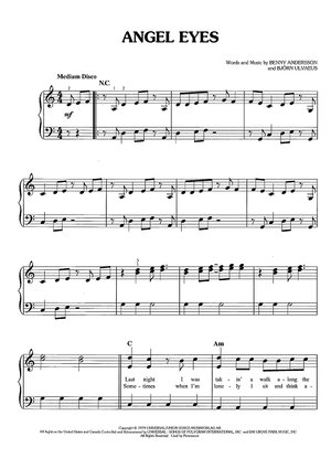 Buy Angel Eyes From Mamma Mia Here We Go Again Sheet Music By