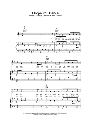 Buy I Hope You Dance Sheet Music By Ronan Keating Lee Ann Womack For Piano Vocal Chords