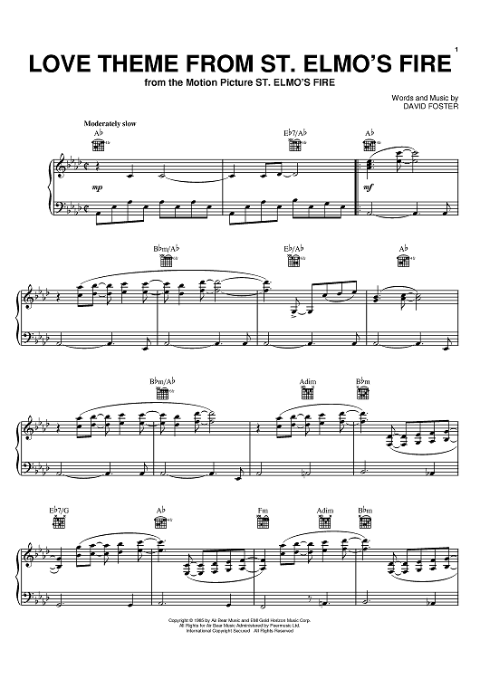 Buy Love Theme From Quot St Elmo 39 S Fire Quot Sheet Music By David Foster For Piano