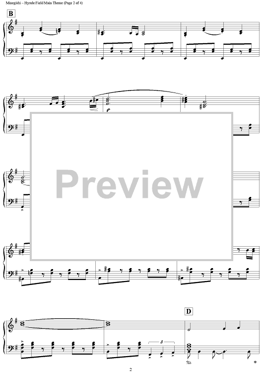 Buy The Legend Of Zelda Twilight Princess Hyrule Field Main Theme Sheet Music For Piano Solo