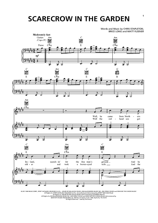 Buy Scarecrow In The Garden Sheet Music By Chris Stapleton For