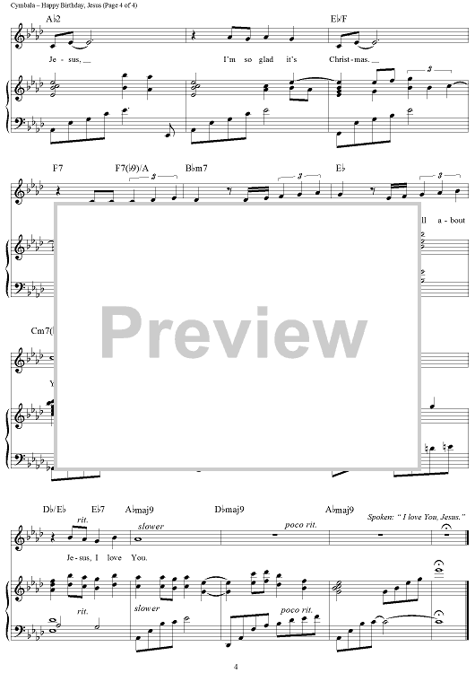 Buy Happy Birthday Jesus Sheet Music By Brooklyn Tabernacle Choir For Piano Vocal Chords