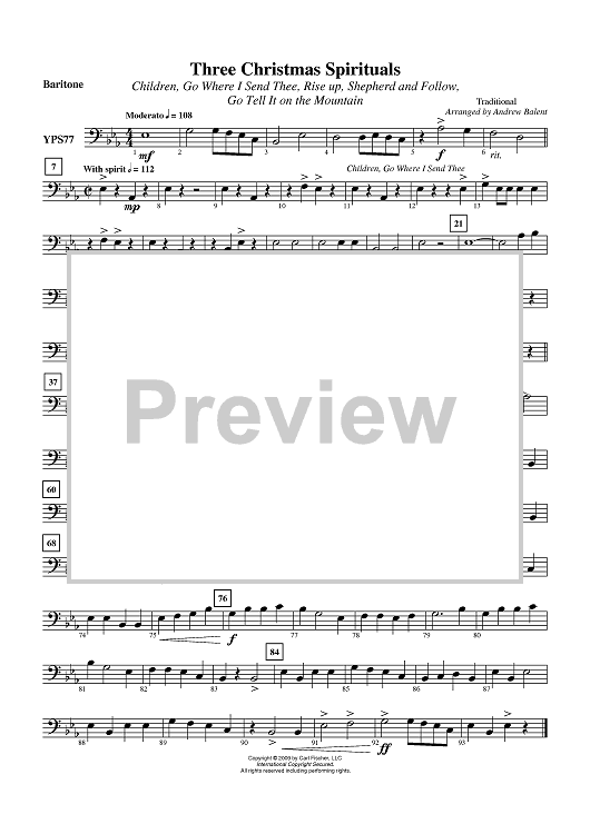 Three Christmas Spirituals - Baritone (Bass Clef)