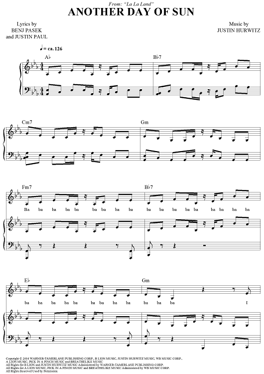 another day of sun free piano sheet music