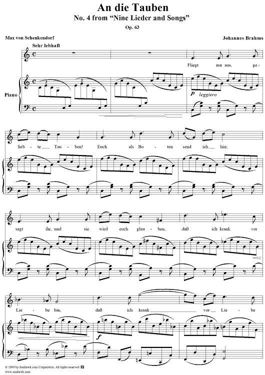 "An die Tauben - No. 4 from ""Nine Lieder and Songs"" Op. 63"