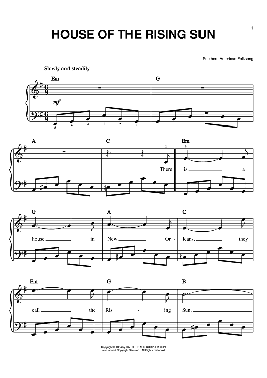 Buy House Of The Rising Sun Sheet Music By The Animals For Easy Piano,How To Paint Cabinets Without Sanding Them