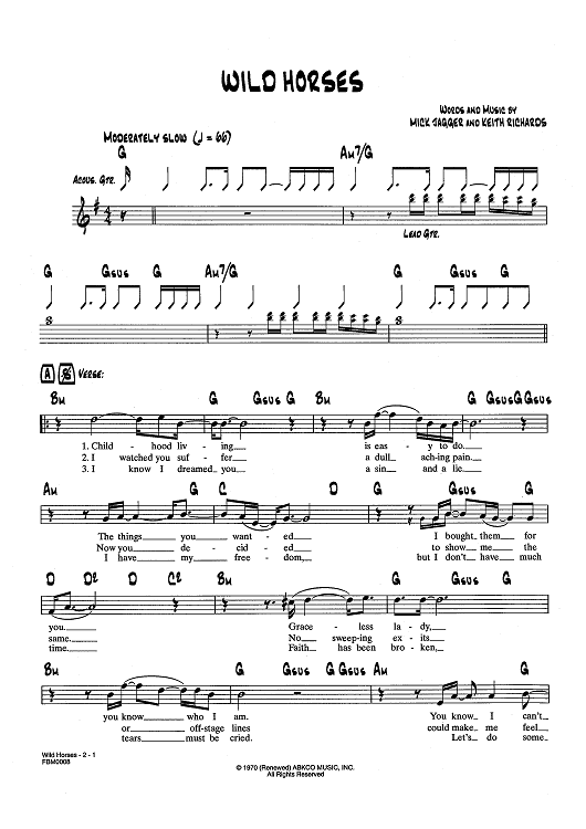 Wild Horses Sheet Music Now