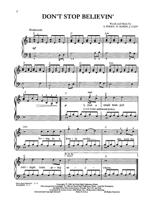 Don\'t Stop Believin\' | Sheet Music Now