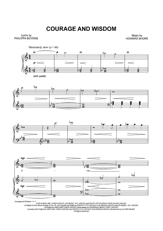 Courage and Wisdom   Sheet Music Now