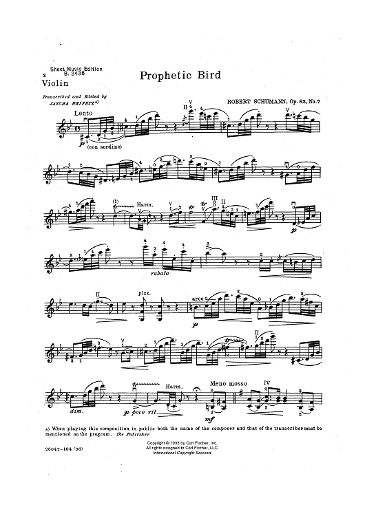 Prophetic Bird - from Waldszenen, Op. 82, No. 7