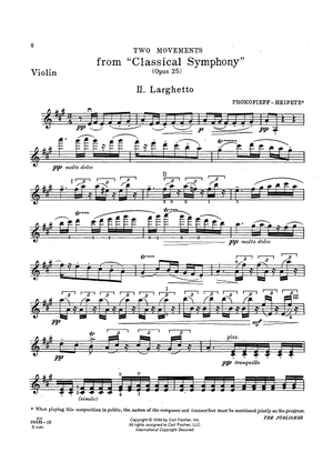 Larghetto and Gavotta - from Classical Symphony, Op. 25