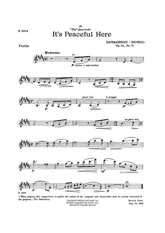 It's Peaceful Here - from Twelve Songs, Op. 21, No. 7