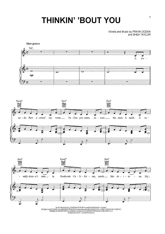 thinkin bout you piano sheet music free