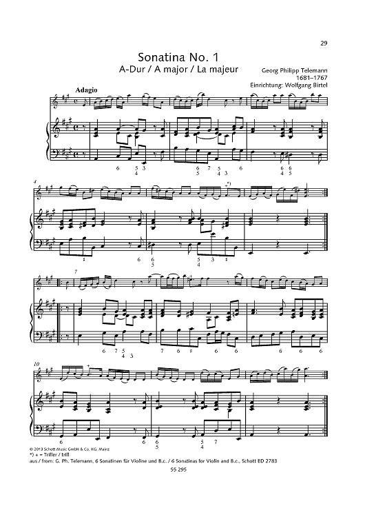 Sonatina No. 1 in A major - from 6 Sonatinas for Violin and B.c.