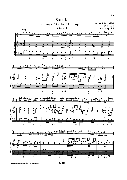 Sonata C major, Op. 3 No. 1