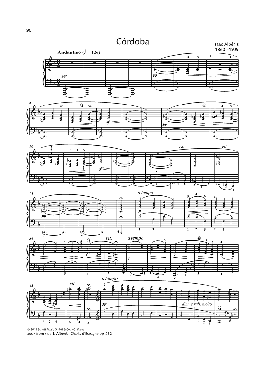 Córdoba - from Chants d'Espagne op. 232