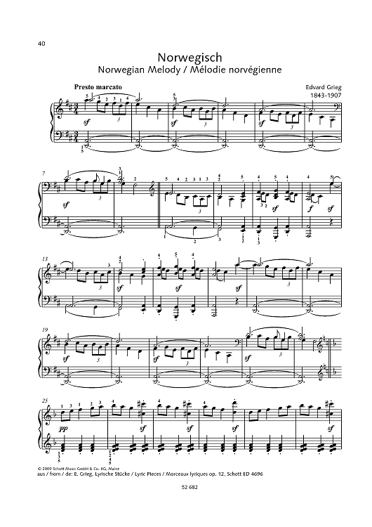 Norwegian Melody - from Lyric Pieces, op. 12
