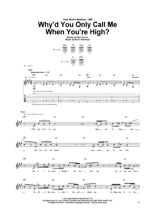Whyd You Only Call Me When Youre High Sheet Music Now