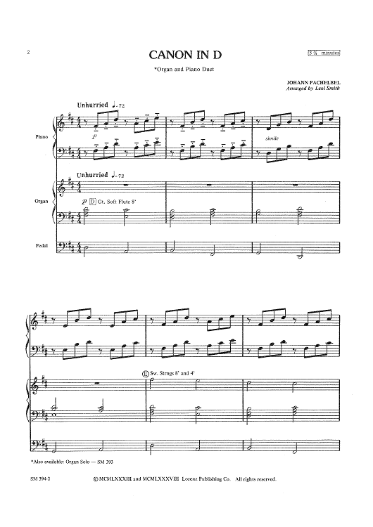 Canon In D (Organ and Piano Duet)