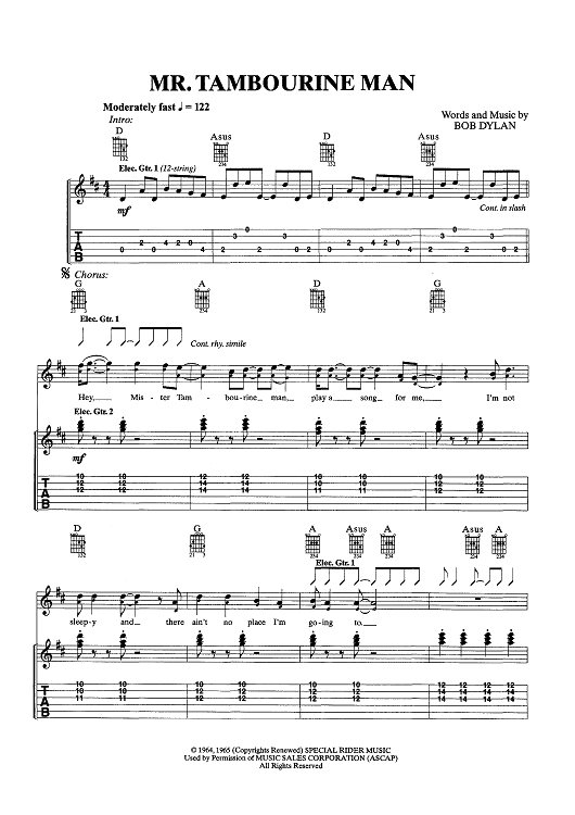 Mr. Tambourine Man | Sheet Music Now