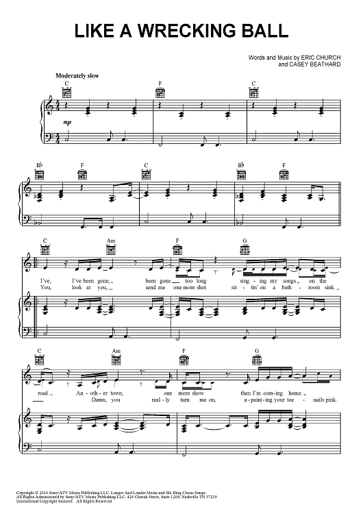 Like A Wrecking Ball | Sheet Music Now