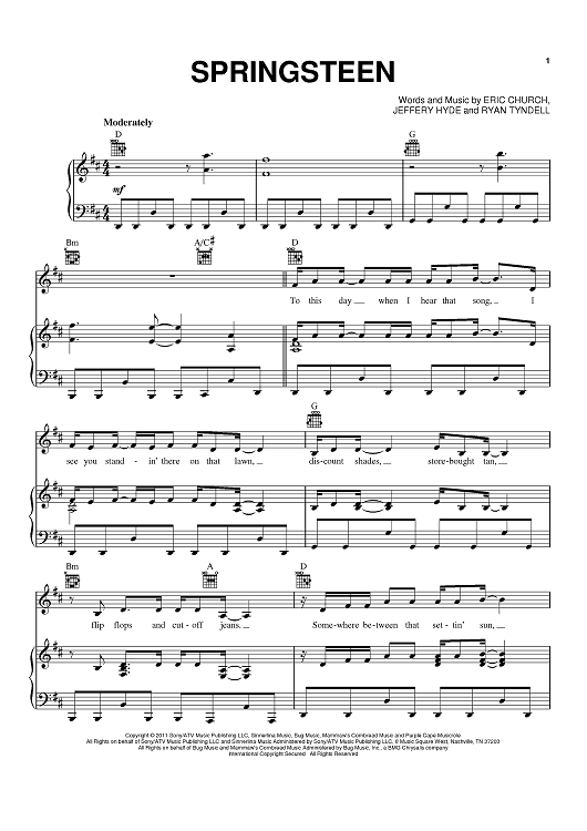 Springsteen Sheet Music Now