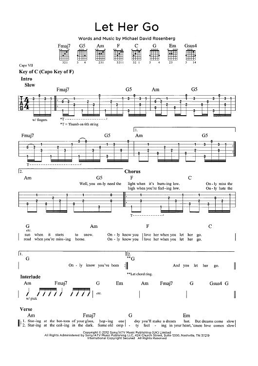 Let Her Go Sheet Music Now