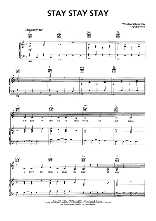Buy Stay Stay Stay Sheet Music By Taylor Swift For Piano Vocal Chords
