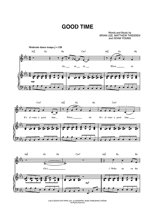 good time by owl city carly rae jepsen scored for piano vocal chords