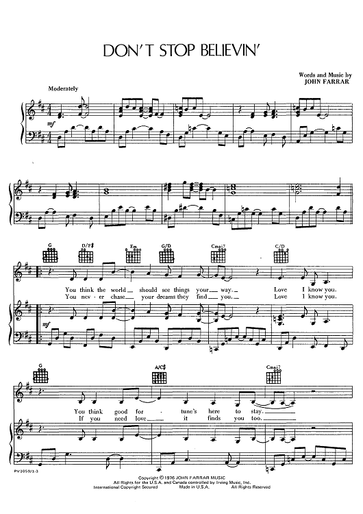 Dont Stop Believin Sheet Music Now