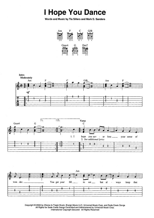 Buy I Hope You Dance Sheet Music By Lee Ann Womack For Easy Guitar Tab Vocal