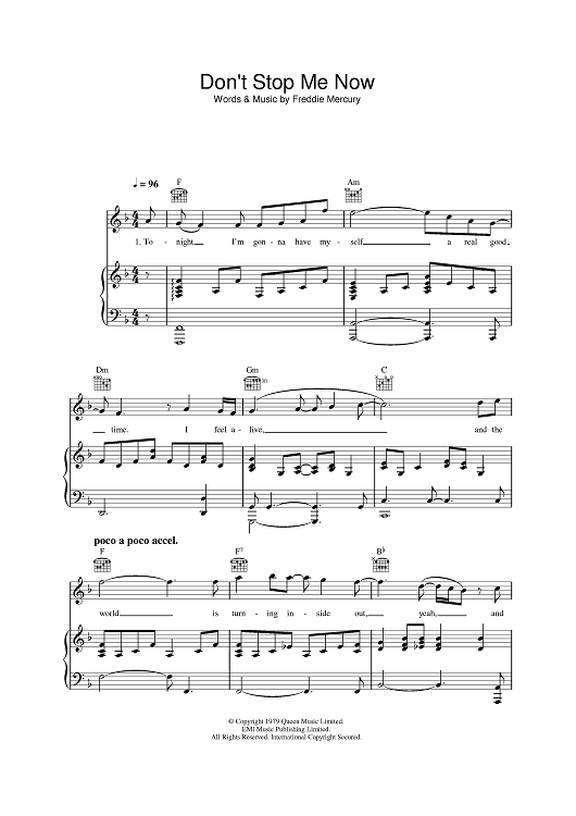 Don't Stop Me Now by McFly scored for Piano/Vocal/Chords