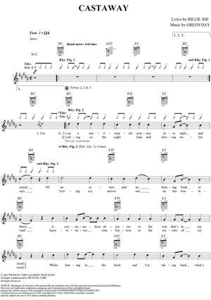Buy Castaway Sheet Music By Green Day For Guitar Tab Vocal