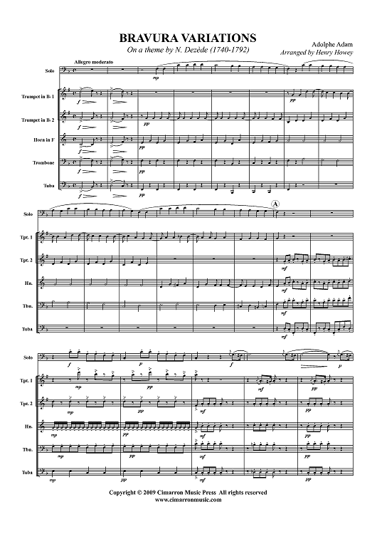 Bravura Variations on a theme by N. Dezede (1740-1792) - Score