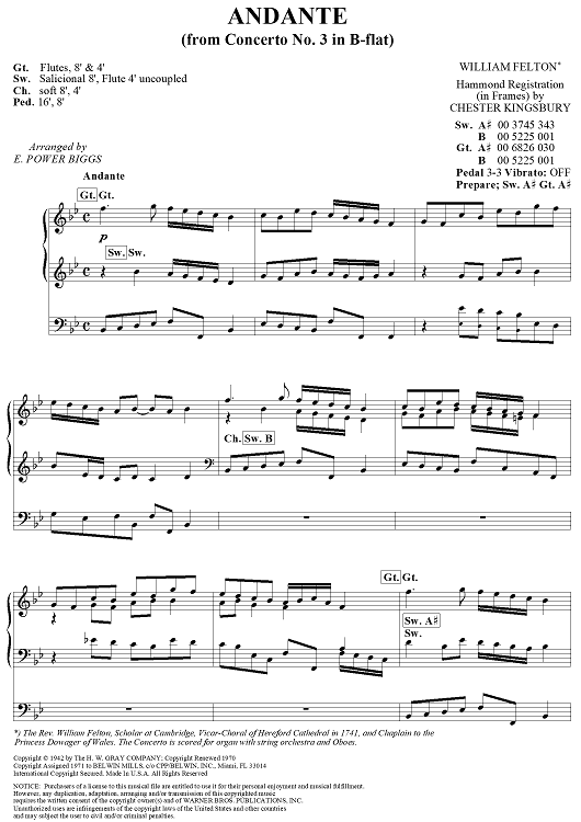Andante, from Concerto No. 3 in B-flat