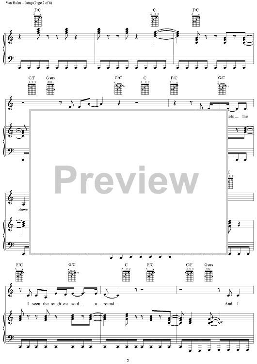 Buy Jump Sheet Music By Van Halen For Piano Vocal Chords