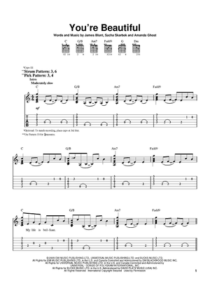Buy You 39 Re Beautiful Sheet Music By James Blunt For Easy Guitar Tab