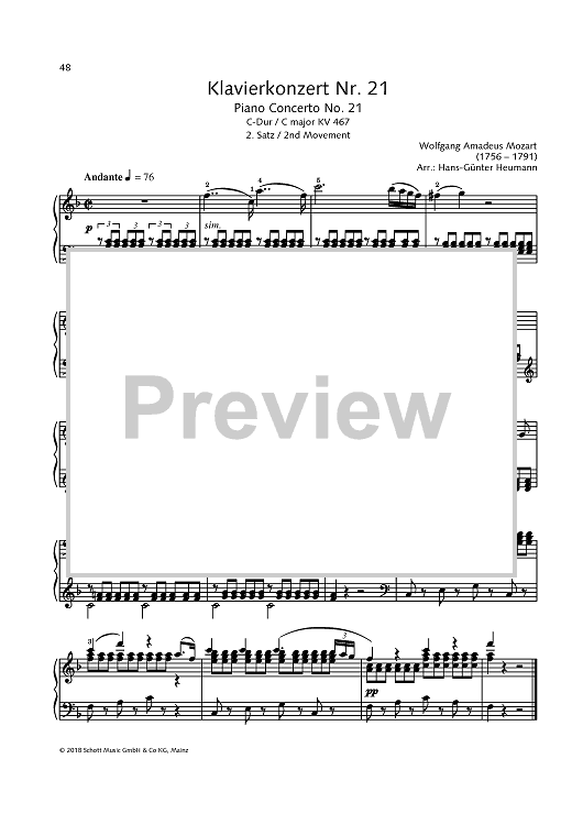 Piano Concerto No. 21  - K 467, 2nd movement