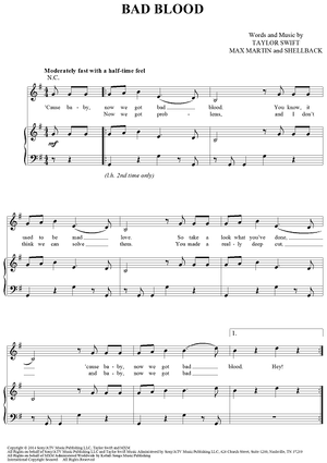 Buy Bad Blood Sheet Music By Taylor Swift For Piano Vocal Chords