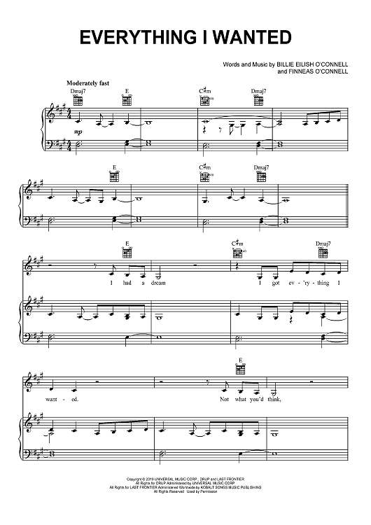 Everything I Wanted Sheet Music